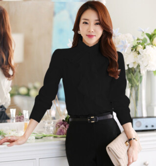 Harga Spring and Autumn New style collar lotus leaf lace whitelong-sleeved shirt (Black)