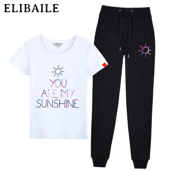 544ce3946a65 Shopping Spring and summer short-sleeved t-shirt trousers Print student  tide Slim fit Korean-style casual running two-piece set fashion sports suit  (Sun ...