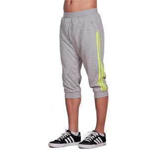 Spring Summer Men Sport Pants Capris Running Fitness Workout JoggerPocket Pants 3/4 Athletic Sweatpant Trousers Cotton - grey green