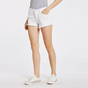 Harga Stitch ripped denim shorts (white)