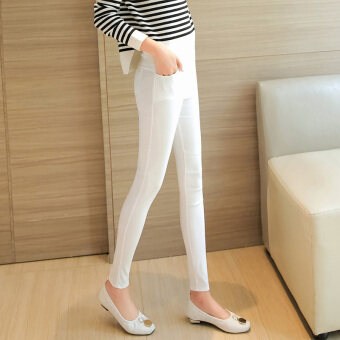 Harga Stretch slim fit outer wear Plus-sized bottoming pants trousers (Front pocket-white) (Front pocket-white)