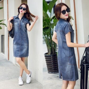 Harga Summer Collar short-sleeved denim skirt denim dress