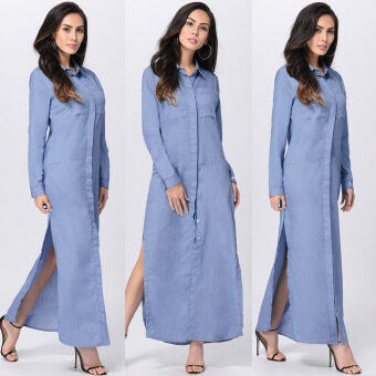 Harga Summer Denim Dress Women Maxi Long jean turn-down collar Shirt Dress female Blue Solid Casual Long sleeve dresses 2017