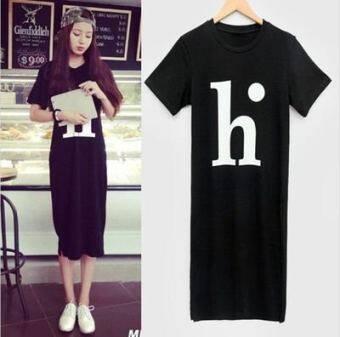 Summer dress Korean-style Women's short-sleeved t-shirt dress Korean small fresh Print letter loose student long dress