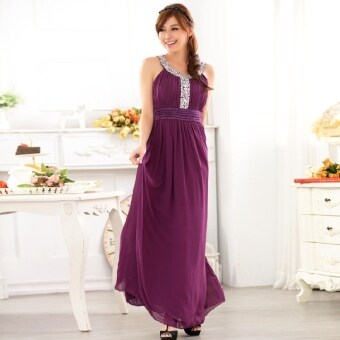 Summer in europe and america large size women's long evening dress beaded waist chiffon vest dress 2017 (Purple)