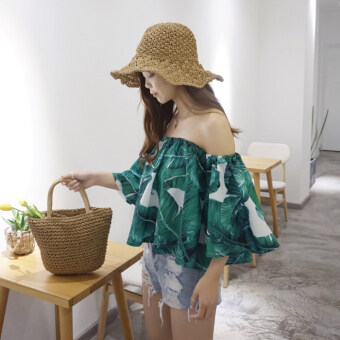 Harga Summer New style Korean chic small fresh banana leaf horn sleeve word collar off-the-shoulder lotus leaf edge chiffon Top female