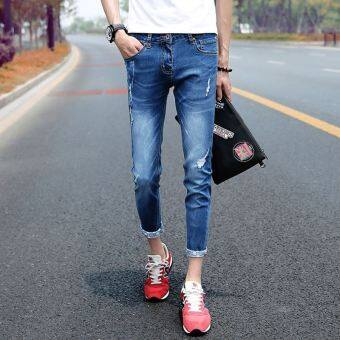 Summer thin stretch ankle-length jeans (8001 dark blue)