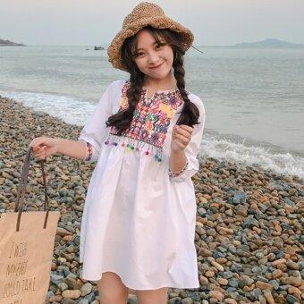 Summer women's small fresh national wind embroidery tassel high waist doll dress loose short sleeve dress student skirt