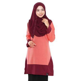 T Shirt Muslimah Humaira Design (Peach / maroon)