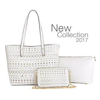 Tanoshiis Picks 3in1 Trendy Premium PU Geometric Pattern Leather Elegant Tote Bag Set_Beige