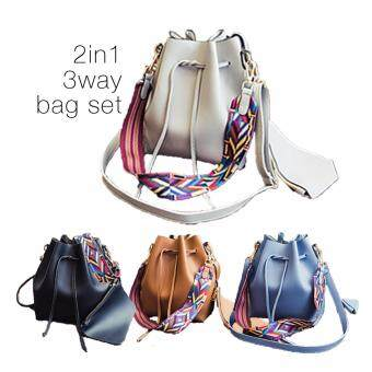 Tanoshiis Picks Korean Style PU Leather 3way Shoulder Bag with Colourful Strap 2in1set_Grey