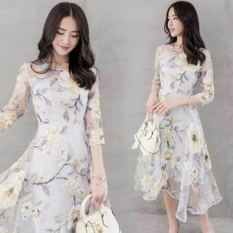 TF New High-end women Round collar 7 minutes of sleeve Eugen printdress(Yellow flower)