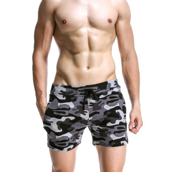 Three points cotton camouflage clothing Slim fit Super shorts (Black)