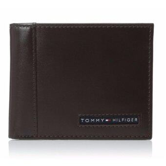 Tommy Hilfiger Men's Leather Cambridge Passcase Wallet with Removable Card Case gift box (brown)