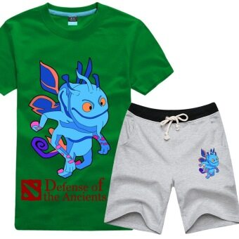 Tongyang dota2 casual cotton New style Plus-sized T-shirt suit (Regular + Grass green t gray pants)