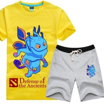 Tongyang dota2 casual cotton New style Plus-sized T-shirt suit (Regular + Yellow t gray pants)