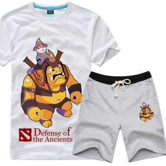 Tongyang dota2 cotton printed New style Plus-sized men's short sleeved t-shirt (Regular + White T gray pants)