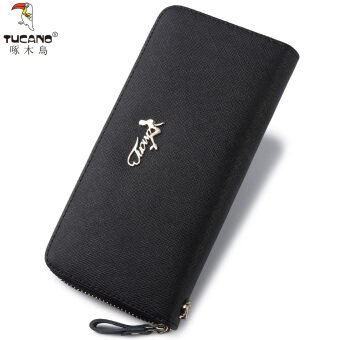 TUCANO zip cross pattern large capacity leather wallet