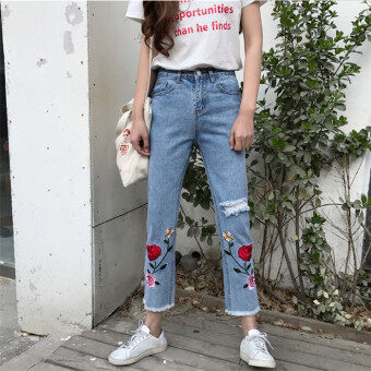 Ulzzang BF flowers to be denim pants spring Women's