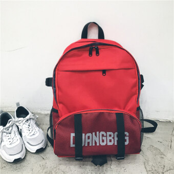 Ulzzang college style female campus High School Students school bag backpack (Red)