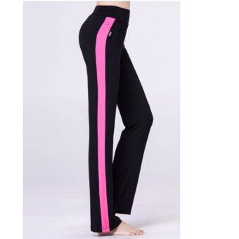 Unisex Modal Yoga Running Leggings Sport Pants Gym Fitness Sportswear Trousers ( Wide Line Crimson Red ) L