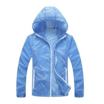 Unisex Outdoor Sport Thin Jacket Windbreaker Waterproof Sun UVprotection Lightweight Quick-dry Hiking Jackets (Blue)