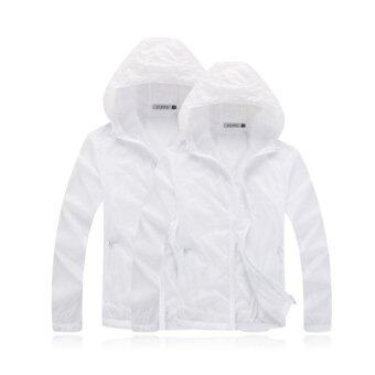 Unisex Outdoor Sport Thin Jacket Windbreaker Waterproof Sun UVprotection Lightweight Quick-dry Hiking Jackets (White)