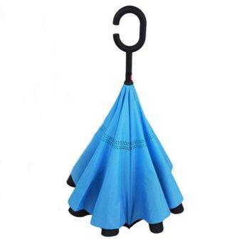 Upgrade Version C Handle Reverse Umbrella!! Double Layer,UVumbrella! - Light Blue