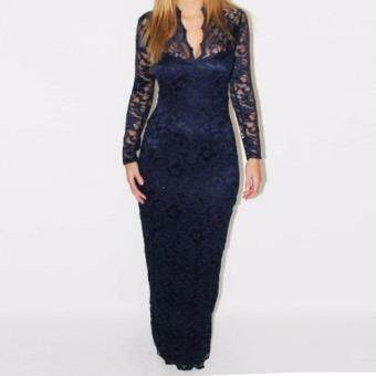 Harga V-neck long sleeves bodycon Lace Women Maxi Dress(Blue)