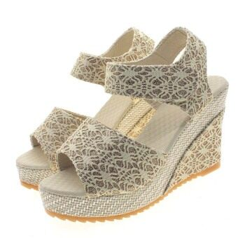 Harga Vanker Summer Women Girl Casual PU High Heel Open Toe Lace Hollowed Wedge Sandals Shoes (Beige)