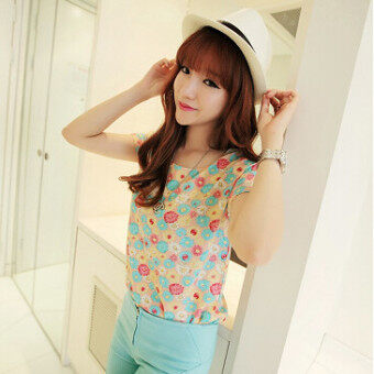 Harga Versatile New style breathable short sleeved chiffon shirt (Little daisy) (Little daisy)