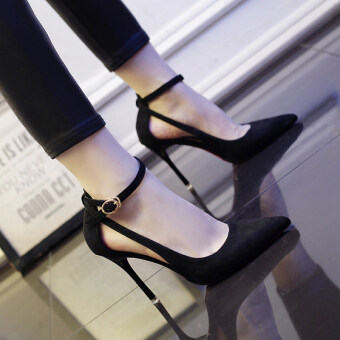Versitile fashion pointed thin heeled word buckle sexy shoes New style high-heeled shoes