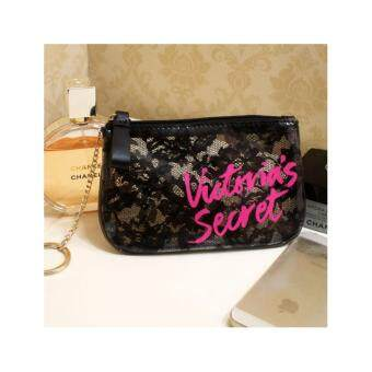 Victoria's Secret Coin Purse / Cosmetic Bag / Keychain Black Lace