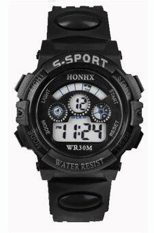 new concept c28e3 e9890 Waterproof Digital Boy s Black Resin Strap LED Watch