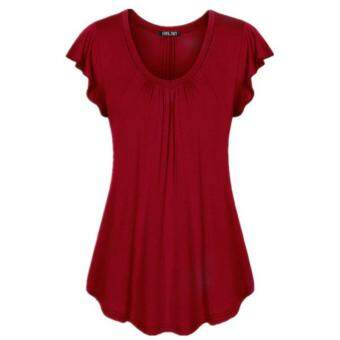 Harga (wine red)Women's Fashion Cotton V-neck Short Sleeve Shirt SolidColor Loose Pleated Hem Tops Blouse Plus Size XS-5XL