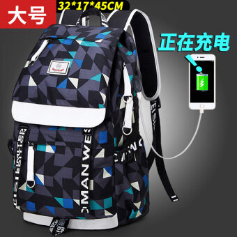 Womanweisi street New style Korean-style shoulder bag backpack (An upgraded version of the large charging version of plaid printed)