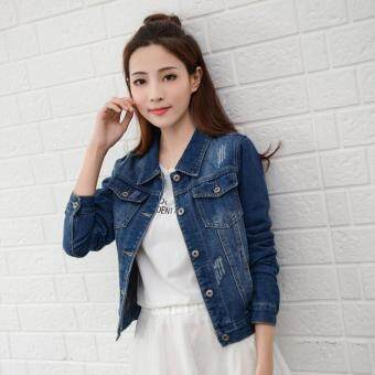 Harga Women Denim Jackets Long Sleeve Short Jeans Jacket Woman Denim Coat-Lake Blue