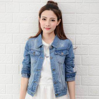 Harga Women Denim Jackets Long Sleeve Short Jeans Jacket Woman Denim Coat-Light blue