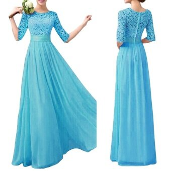 Harga Women Dress Lace Chiffon Half Sleeve Slim Maxi Long Gown ElegantPrincess Evening Party One-Piece