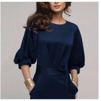 Women Elegant Work Office Dress Autumn Half Sleeve O Neck Ladies Bodycon Bandage Slim Pencil Party Dress Vestidos - 3