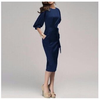 Women Elegant Work Office Dress Autumn Half Sleeve O Neck Ladies Bodycon Bandage Slim Pencil Party Dress Vestidos - 2