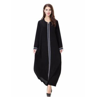 Harga Women Ethnic Pure Color Muslim Islamic Long Sleeve Maxi Dress ArabJilbab Abaya Cloth(Grey)