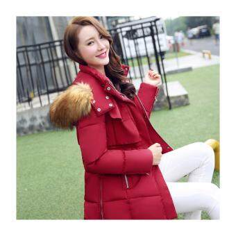 Harga Women Fashion medium long section Winter Jacket Slim Female CoatThicken Parka Down Cotton Clothing (Red)