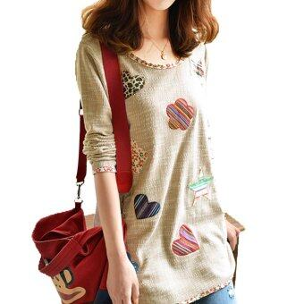 Women Fresh Hearts Flowers Print Blouse Round Neck Top Shirts - 5