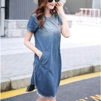 Harga Women New Fashion Slim Bur Hem Denim Jonint Denim Midi Dress PlusSize