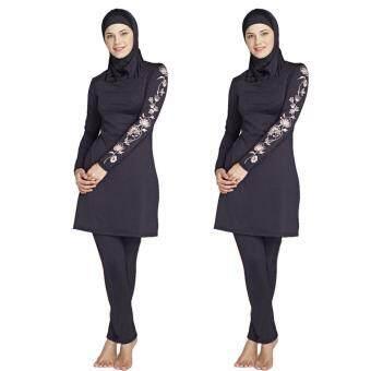 Women Plus Size Printed Floral Muslim Swimwear Fashion Muslimah Islamic Swimsuit Swim Surf Wear Sport Clothing Black