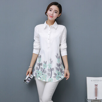 Women's Embroidery Collar Long Sleeve Mid Length Shirt - White (Flower leaves)