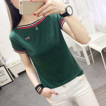 Women's Korean-style Slim Fit Boat Neck Short Sleeve T-Shirt (736 * green)