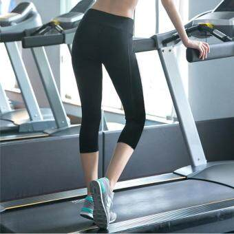 Women's Compression Sports Capri Tights Active Yoga Running Fitness3/4 Pants Gym Workout Leggings - black