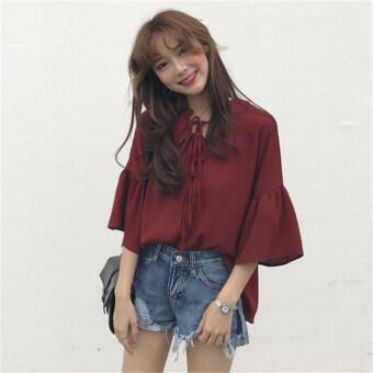 Women's Korean-style stylish loose-fitting lace-up flounce-sleeve chiffon blouse